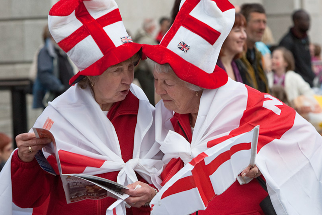 Two patriotic ladies discuss their plans, St. George's Day, Trafalgar Square